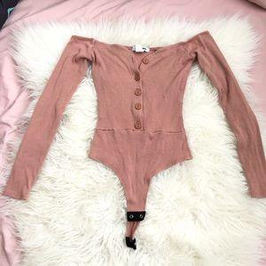Fashionova off the shoulder bodysuit pink Xs
